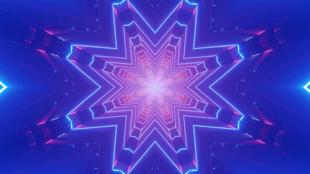 3d illustration abstrakcyjne tło sztuki z efektem złudzenia optycznego utworzone z geometrycznego ornamentu w kształcie kryształu z różowym i fioletowym oświetleniem neonowym