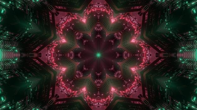 3d illustration abstrakcyjny wzór tła wirtualnego tunelu nieskończonej przestrzeni ze świecącym czerwonym ornamentem roślinnym w ciemności z zielonymi błyskami