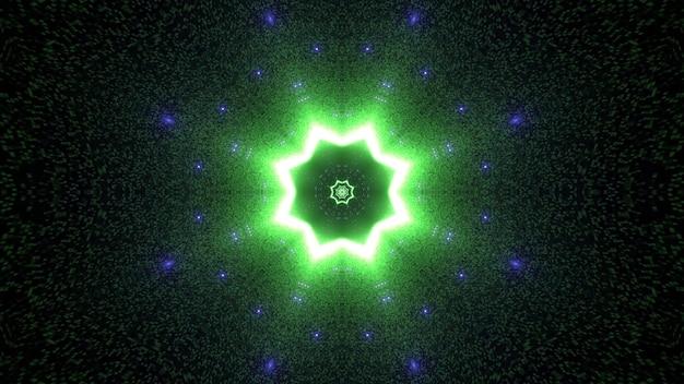 3d illustration futurystyczny abstrakcyjne tło z jasnym świecącym tunelem w kształcie zielonej neonowej gwiazdy i błyszczącymi fioletowymi cząsteczkami w ciemności