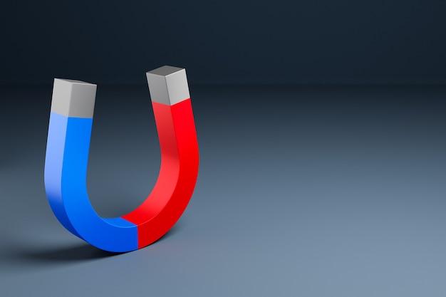 3d illustration klasyczny magnes z czerwonymi i niebieskimi końcami w postaci podkowy na czarnym tle na białym tle