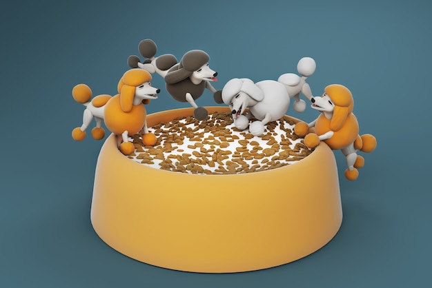 3d illustration pies pudel lizanie jedzenia