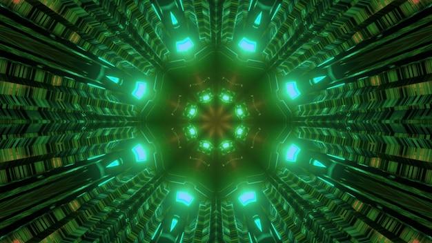 3d illustration streszczenie science fiction tunelu w kształcie rury ze świecącym symetrycznym zielonym neonowym oświetleniem i odbiciami światła