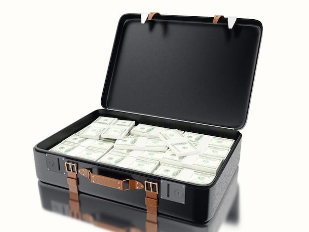 3d illustraton. walizka pełna pieniędzy