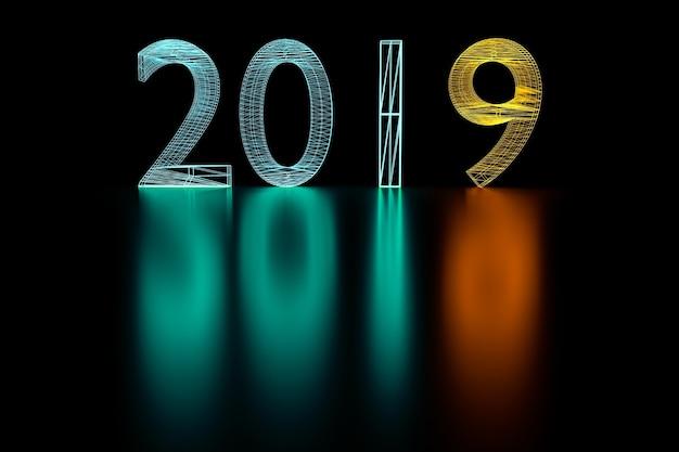 3d ilustracja 2019 nowego roku wireframe neonowe światło.