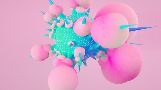 3d ilustracja, 3d rendering, abstrakcjonistyczny temat dla modnych projektów latać kształty w ruchu odizolowywającym na różowym tle. kule, torus, rurki, stożki w kolorach zielonym niebieskim i różowym