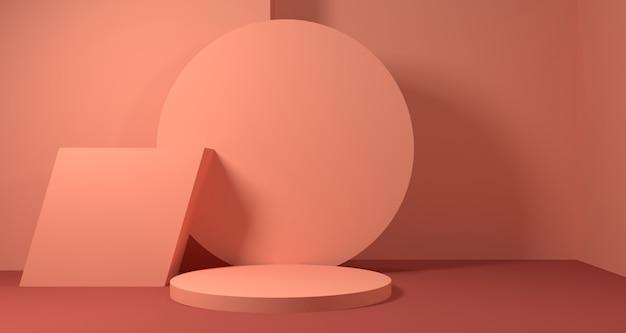 3d ilustracja abstrakcjonistycznego koralowego cora geometryczny kształt, nowożytny minimalistyczny podium pokaz lub gablota wystawowa