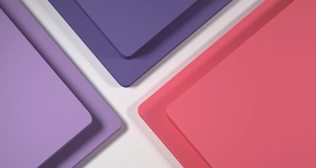 3d ilustracja abstrakcjonistycznego pastelowego koloru geometryczny kształt, nowożytny minimalistyczny podium pokaz lub gablota wystawowa