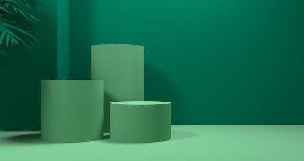 3d ilustracja abstrakcjonistycznego zielonego koloru geometryczny kształt, nowożytny minimalistyczny podium pokaz lub gablota wystawowa
