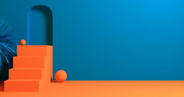 3d ilustracja abstrakcjonistyczny pomarańczowy i błękitny koloru geometryczny kształt, nowożytny minimalistyczny podium pokaz lub gablota wystawowa