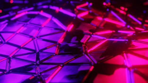 3d ilustracja abstrakcyjne tło błyszczący metaliczny futurystyczny neon kolorowy