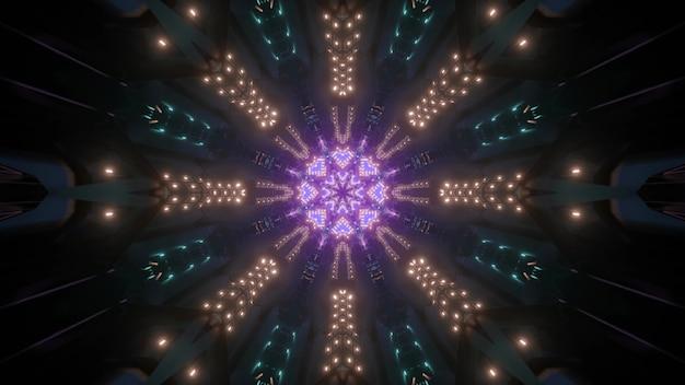 3d ilustracja abstrakcyjnego ornamentu w ciemnym tunelu