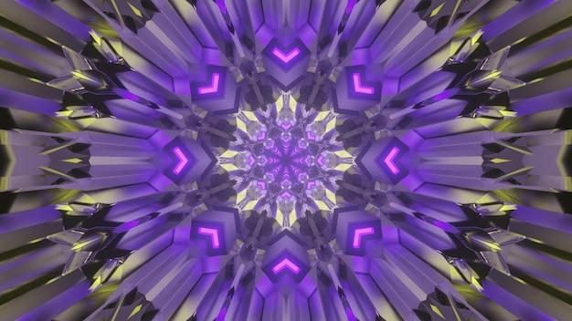 3d ilustracja abstrakcyjnego tła geometrycznego tunelu ze strzałkami i liniami świecącymi fioletowym światłem neonu