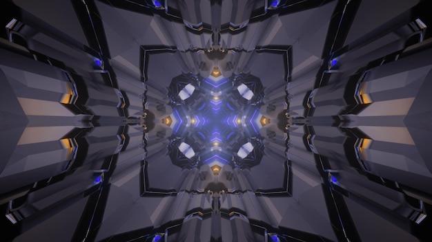 3d ilustracją abstrakcyjnego tła niekończącego się tunelu