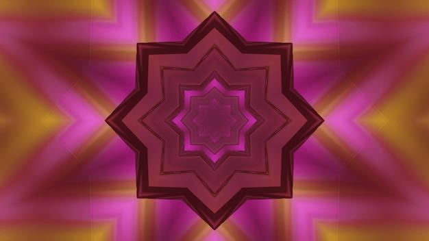 3d ilustracją abstrakcyjnego tła świecącego tunelu w kształcie kwiatu kalejdoskopie