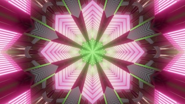 3d ilustracją abstrakcyjnego tła tunelu w kształcie kwiatu oświetlonego zielonym i różowym światłem neonowym