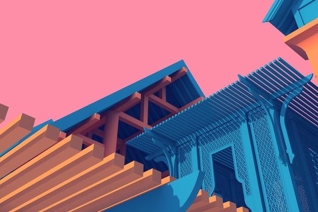 3d ilustracja architektury łat dachowych