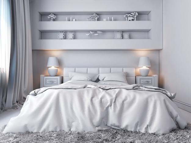 3d ilustracja biała sypialnia w klasycznym stylu