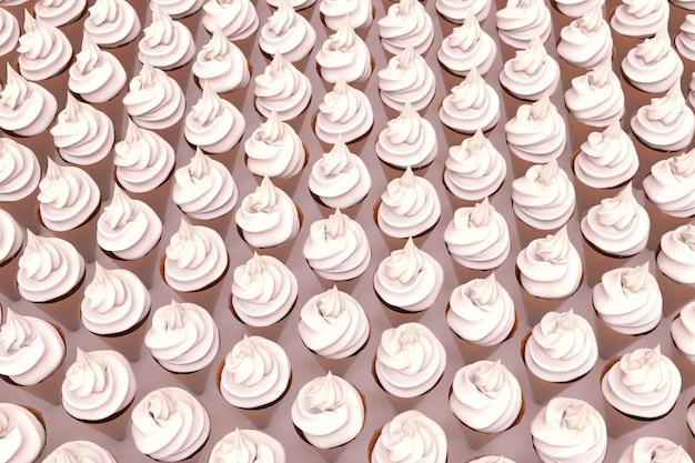 3d ilustracja białej bezy, marshmallows na na białym tle różowym. duża ilość bezy na powierzchni. słodkie smakołyki. grafika 3d