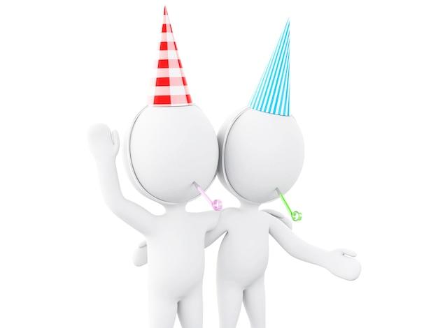3d ilustracja. biali ludzie świętują urodziny z dmuchawą i kapeluszem.