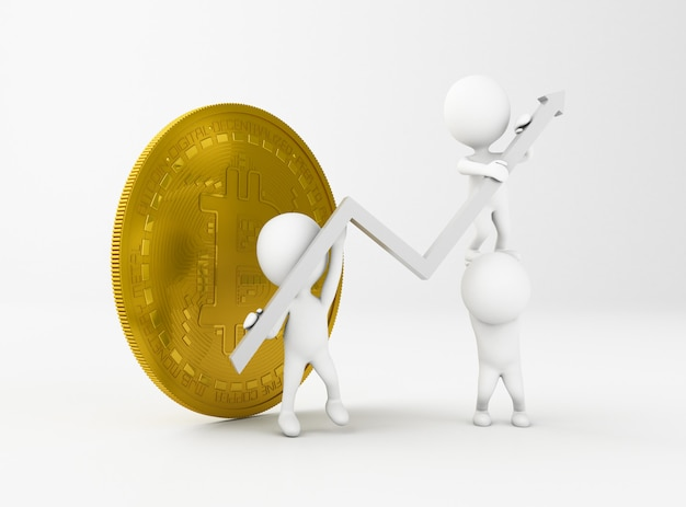 3d ilustracja bitcoin i biali ludzie z wzrostową postęp strzała.