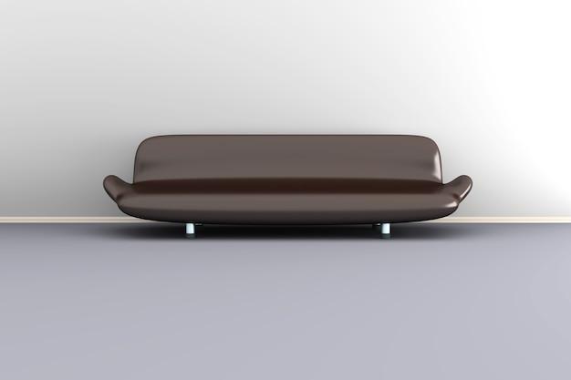 3d ilustracja brązowa kanapa w białym pokoju.