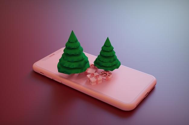 3d ilustracja choinki na smartfonie boże narodzenie smartfon w renderowaniu 3d