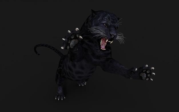3d ilustracja czarna pantera izoluj na czarno