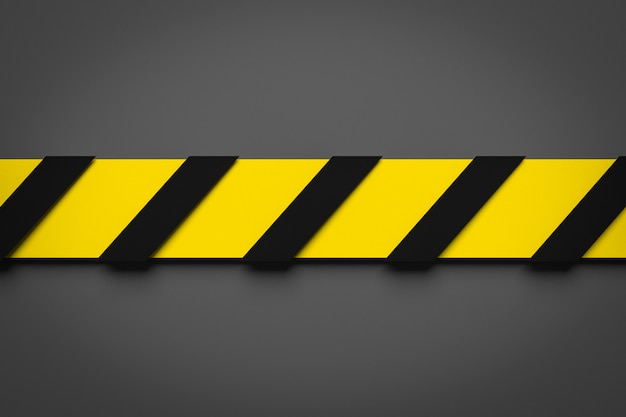 3d ilustracja czarny i żółty lampas w środku na szarym tle. taśmy ostrzegawcze przedstawiające znaki ostrzegawcze i wezwanie do trzymania się z daleka. taśma barierowa. pojęcie braku wpisu.