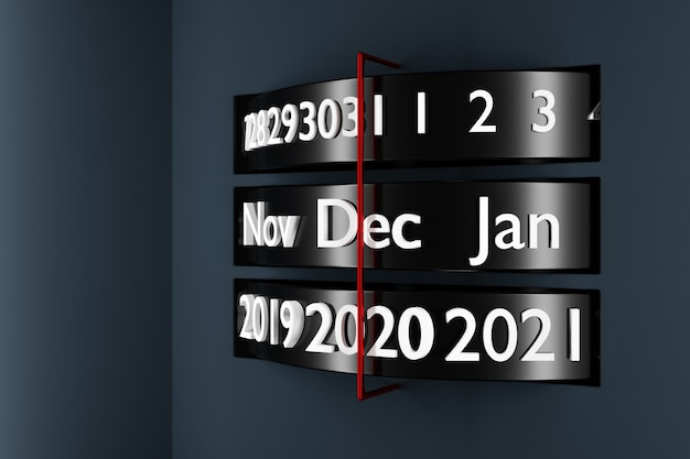 3d ilustracja czarny kalendarz z 12 miesięcy, 31 dni i 2021 rok na białym tle.