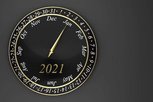 3d ilustracja czarny okrągły kalendarz z zegarem 12 miesięcy, 31 dni i rok 2021 na czarnym tle.