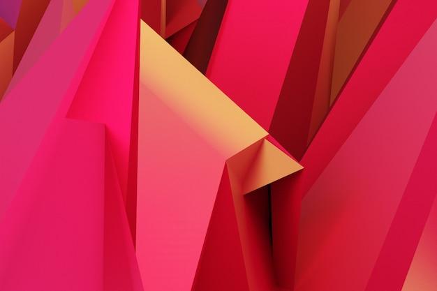 3d ilustracja czerwone i pomarańczowe rogi. tupot na monochromatycznym tle, wzór. geometryczne tło, wzór splotu.