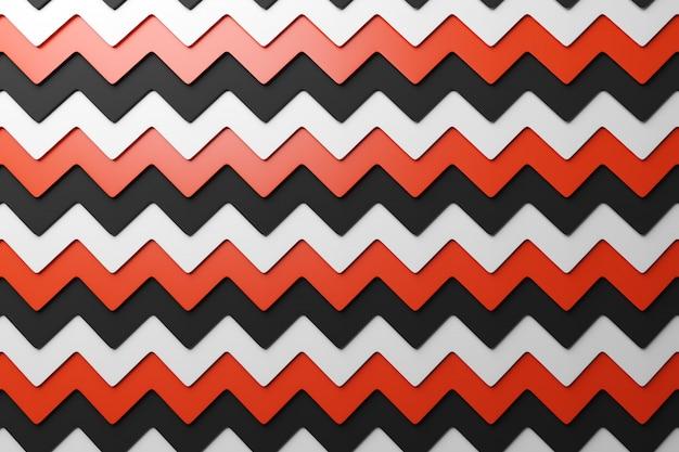 3d ilustracja czerwonego, czarno-białego wzoru geometrycznego z wzoru dekoracyjny nadruk, wzór.