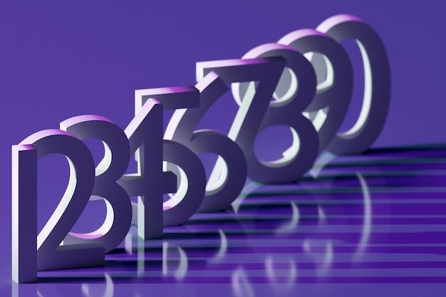 3d ilustracja duże białe litery wolumetryczne stoją w rzędzie jeden po drugim z cieniami na niebieskim tle. zbiór liczb matematycznych