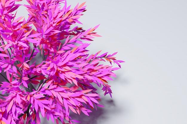 3d ilustracja dużego neonowego różowego drzewa liściastego