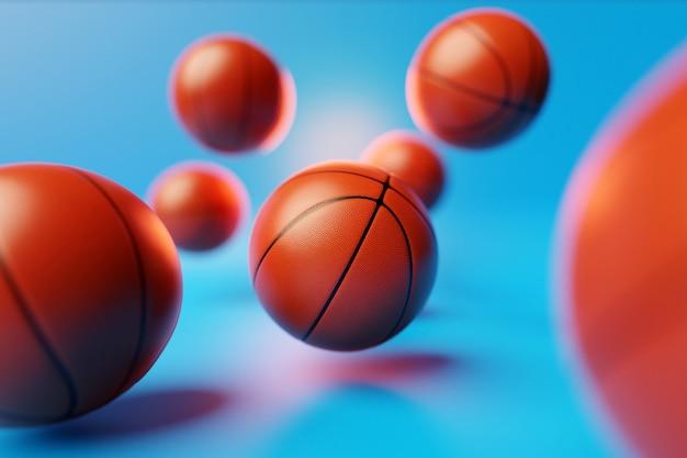 3d ilustracja dużo pomarańczowych piłek do koszykówki leci na niebieskim, odizolowanym tle