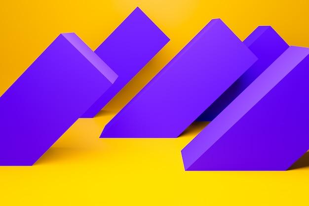 3d ilustracja fioletowych pasków tego samego rozmiaru odwróconych w różnych kierunkach. geometryczny wzór z zanikającymi liniami