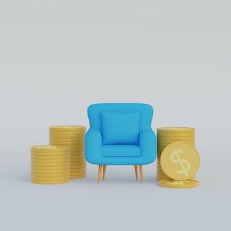 3d ilustracja fotel ze stosami monet ze znakiem dolara na białym tle