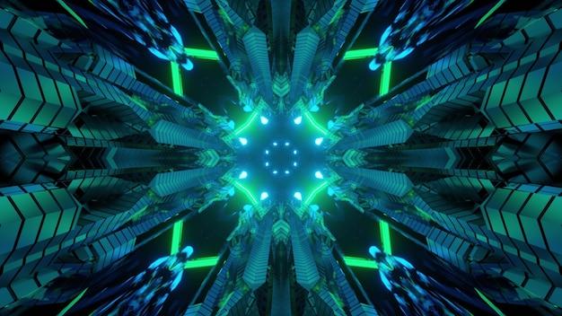 3d ilustracja futurystycznego wnętrza korytarza statku kosmicznego science fiction z metalowymi komórkami i zielonym neonowym oświetleniem dla abstrakcyjnego tła