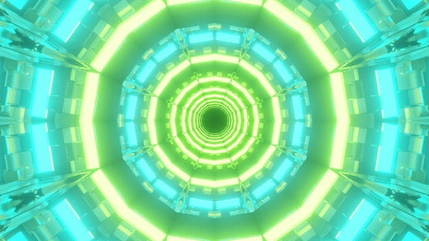 3d ilustracja geometrii niekończącego się okrągłego tunelu świecącego niebieskim i zielonym światłem