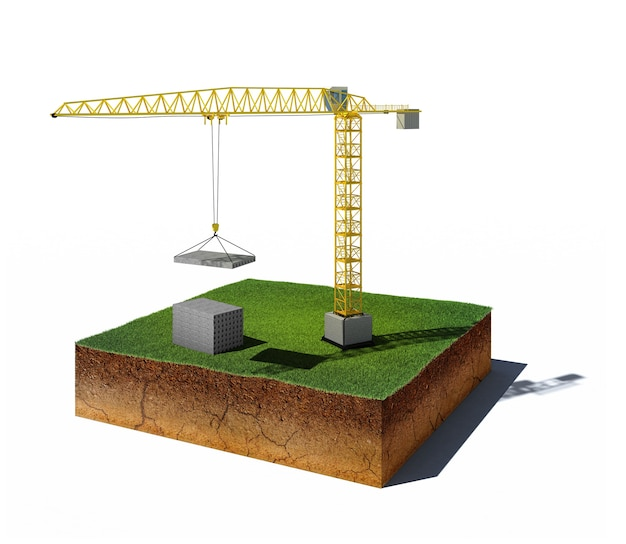 3d ilustracja gleby przekrój z lotu ptaka kostka brudu z dźwigiem i blokami betonowymi na białym tle