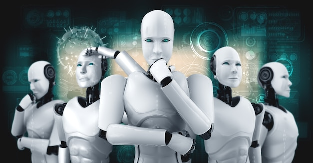 3d ilustracja grupy humanoidalnej robota