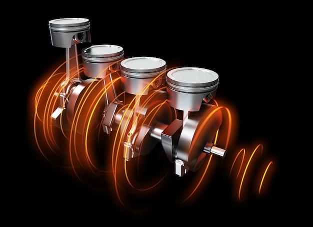 3d ilustracja haków silnika z śladami energii