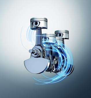 3d ilustracja haków silnika z torami energii