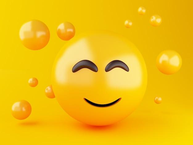 3d ilustracja. ikony emoji z wyrazem twarzy. koncepcja mediów społecznościowych.