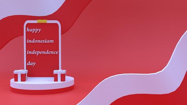 3d ilustracja indonezyjskiego dnia niepodległości czerwone tło