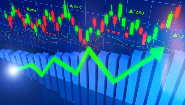 3d ilustracja inwestycji finansowych na giełdzie