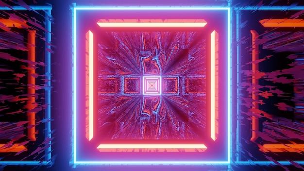 3d ilustracją jasnego, kolorowego oświetlenia neonowego w kształcie kwadratów z efektem odbicia światła dla abstrakcyjnego wzoru geometrycznego