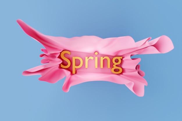 3d ilustracja jasny napis wiosna w wolumetrycznym pięknym różowym papierze na niebieskim tle na białym tle