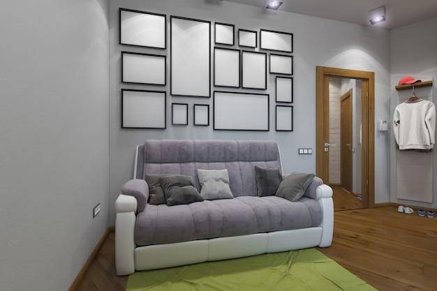 3d ilustracja jednopokojowego mieszkania