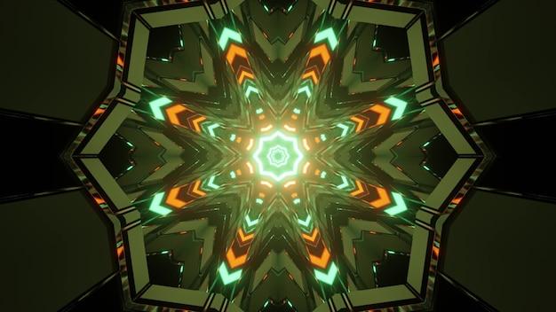3d ilustracja kalejdoskopowych komórek tworzących symetryczny wzór ze świecącymi wielokolorowymi światłami w ruchu